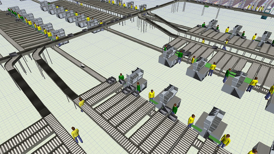 Massive Simulation Model in FlexSim