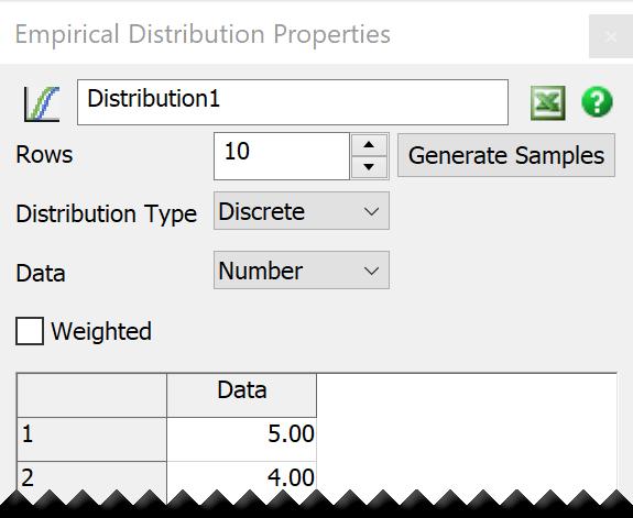 FlexSim Empirical Distribution