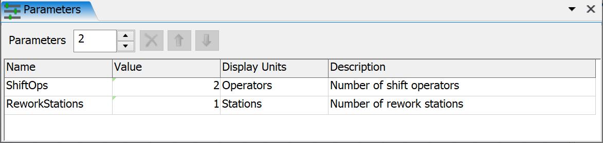 FlexSim Model Parameters Table