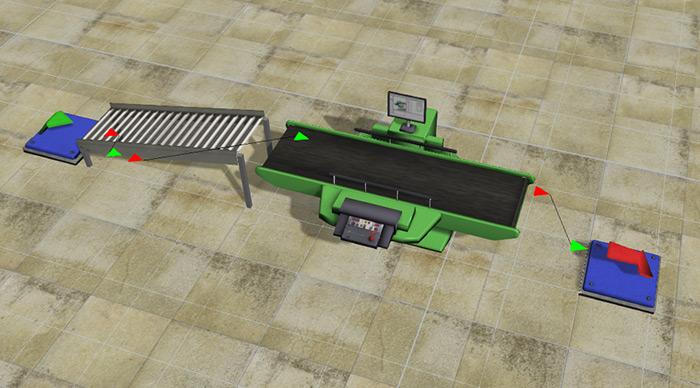 FlexSim Model w/ Tile Floor