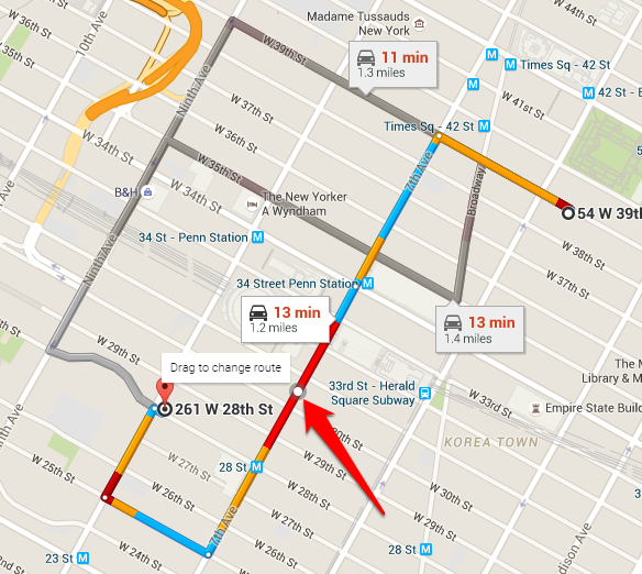 GPS Map Route Options