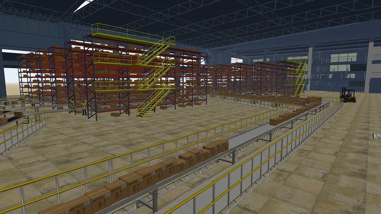 Warehouse simulation using FlexSim